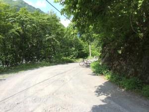 林道のカーブ際に青薙山登山口 自転車がある辺りに登山口